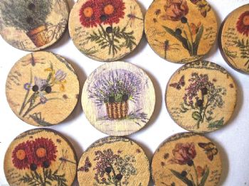 25mm Wood  Assorted  Patterned Flower Buttons Pack of 10